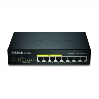 D-Link DGS-1008P/E 8-Port PoE Gigabit Desktop Switch with dual PSU ( UK And EU plugs ) a