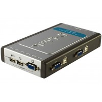 D-Link DKVM-4UPro Connect 4-Port USB KVM Switch, Connect up to 4 PCs to one USB Keyboard, USB Mouse and Video. a