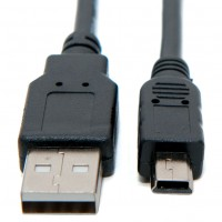 USB 2.0 A to mini-B 5 pin Cable Power & Data Lead 1.8m