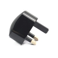 AC UK 3 Pin USB Travel Charger (5V/1A/Black)