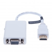 HDMI to VGA Adapter With 3.5mm Audio Port (White)