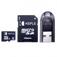 32GB microSD Memory Card by Keple | High Speed microSD Card for HD Videos & Photos | 32 GB Storage Class 10 UHS-I U1 SDHC (USB and SD Adapter Included)