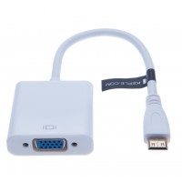 Mini HDMI to VGA Adapter Converter for Desktop, Laptop, Notebook (White)