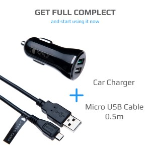 Quick Charge Car Charger with 0.5m Micro USB Cable for Samsung Galaxy A8 / S5 / S6 / S6+ / S6 Edge