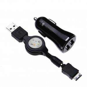 In Car Charger for Samsung B210 / B2100 Solid Extreme / B2700 / B300 / B3210 CorbyTXT Phone Dual USB 2.4A 12V & 24V + Retractable 2.6 ft / 0.8 m G600 Connector Charging Cable lead Cord
