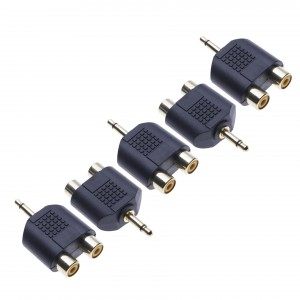 5 Pack 2x RCA Stereo Converter to 3.5mm Mono by Keple, Audio Adapter, Y Splitter, 3.5mm One Ring Male Jack Plug to 2 x RCA Phono Female Connection