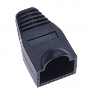 RJ45 Crimp Boot Covers By Keple | Plastic Ethernet Network Wire LAN Strain Connector Ends Caps for Cat6 Cat5 Cable | Pack of 50 PCS Black Plug Covers