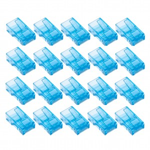 RJ45 Crimp Plugs by Keple | Connector Coupler Modulator Ethernet Socket Plastic Head Ends for LAN Network for Cat6 Cat6e Cat5 Cat5e Cable | Blue, 20 PCS