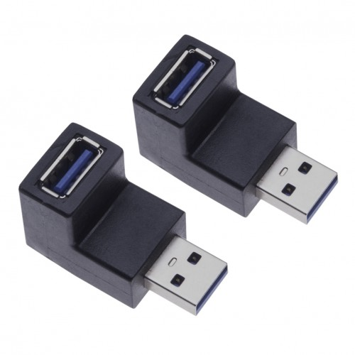 2 Pieces USB 3.0 Male to Female 90 Degrees Adapter for Computers, Laptops, Printers, Hard Drives a