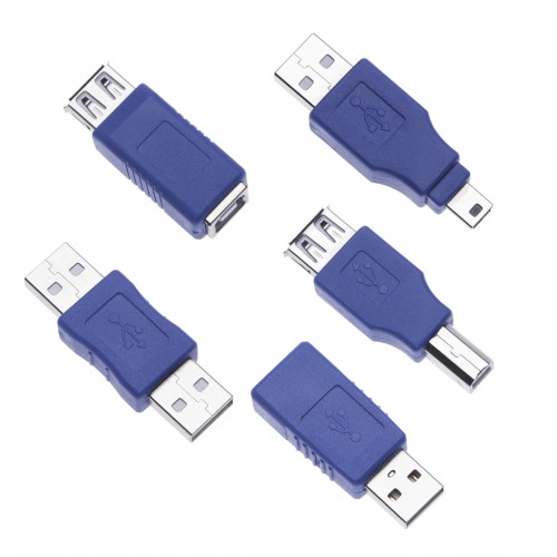 5 Pieces USB 2.0 Converter Adapters 5 Kinds of USB Gender Changer Coupler Connectors Short Extension Cable Jointer Converter Adaptor for Computers, Laptops, Printers, Hard Drives (5 Pack) a