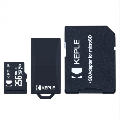 256GB Micro SD Memory Card by Keple | MicroSD Class 10 For HD Videos and Photos | 256 GB SDHC UHS-III U3 (USB and SD Adapter Included)