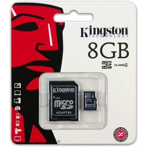 Kingston 8Gb High Capacity Micro Sd Card With Sd Adapter Class 4 SDC4/8GB (Stock Clearance)