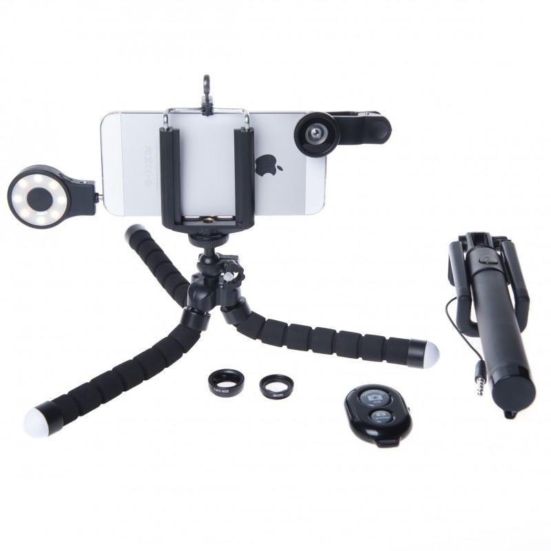 Photography Kit for HTC Desire 620G: Phone Lens, Tripod, Selfie, stick, Remote, Flash a