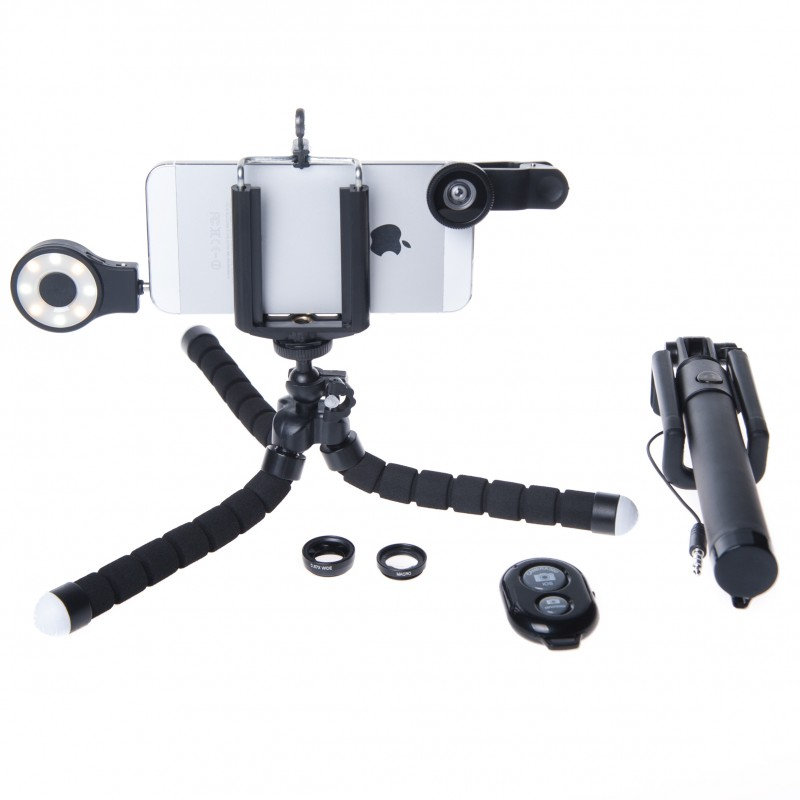 Photography Kit for HTC One M9: Phone Lens, Tripod, Selfie, stick, Remote, Flash a
