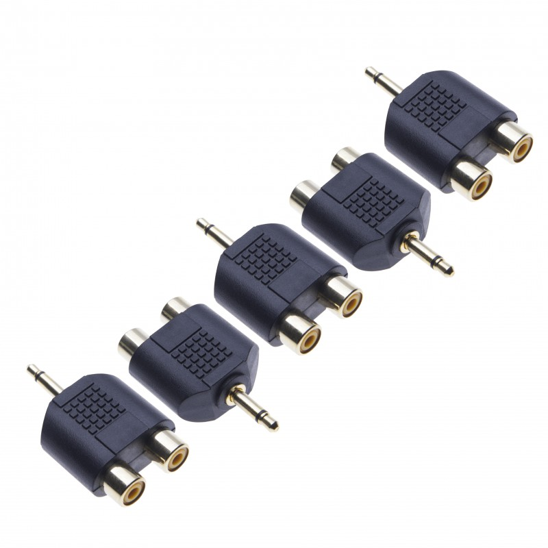 5 Pack 2x RCA Stereo Converter to 3.5mm Mono by Keple, Audio Adapter, Y Splitter, 3.5mm One Ring Male Jack Plug to 2 x RCA Phono Female Connection a