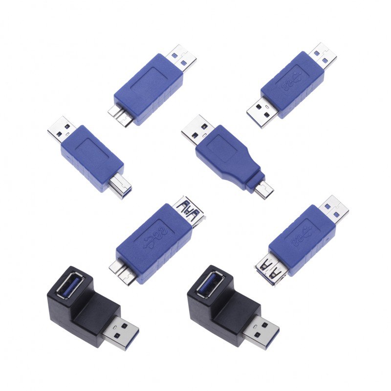 8 Pieces High Speed USB 3.0 Adapters Bundle USB A Plug Gender Changers Couplers Connectors Short Extensions Converters Quick Adaptor for Computers, Laptops, Printers, Hard Drives (8 Pack) a