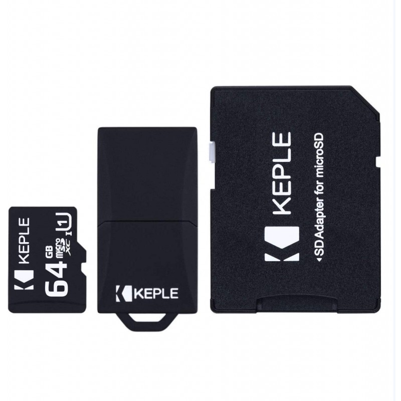 64GB Micro SD Memory Card by Keple | MicroSD Class 10 For HD Videos and Photos | 64 GB SDHC UHS-1 U1 (USB and SD Adapter Included)