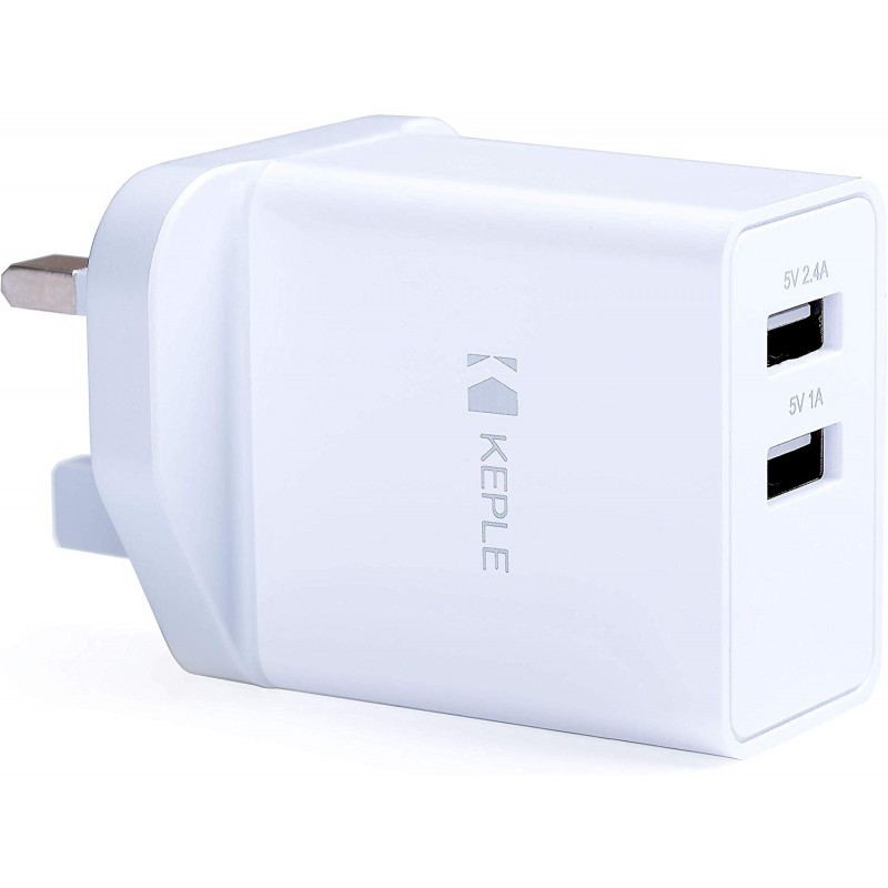 Keple Mains USB Wall Charger Dual 2 Port Fast Charging UK Plug Compatible with Samsung / Huawei / HTC / Nokia / LG / Xiaomi / Sony Xperia / Honor Phones Smartphones 17W 3.4A Adapter