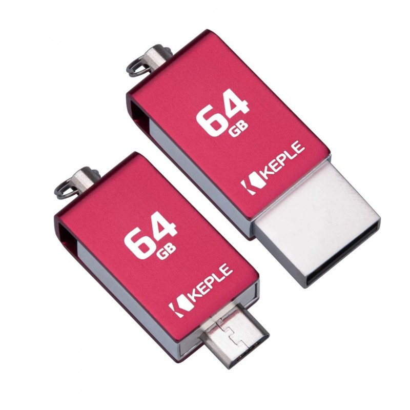64GB USB Red Stick OTG to Micro USB 2 in 1 Flash Drive Memory Stick 2.0 Compatible with HTC One M8, M9, M7 / A9, X9 / Desire 530, 625, 630, 825, 830 | 64 GB Pen Drive Dual Port