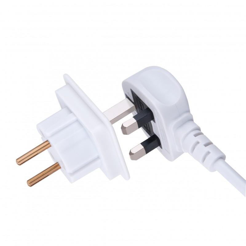 UK to EU Adapter Schuko Euro Socket 3 Pin to 13 Amp 2 Pin Plug Type G to Type C | International Universal European Europe Travel Adaptor Adopter | for Mobile Phone Tablet Laptop | 1 x White