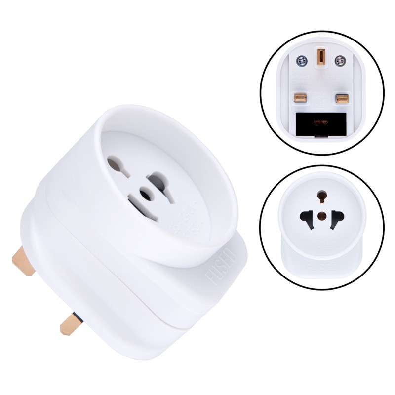 US AU to UK Adapter American Australian Socket 2 or 3 Pin to 13 Amp 3 Pin Plug Type A B I to Type G | International Universal USA Travel Adaptor Adopter | for Mobile Phone Tablet Laptop | 1 x White