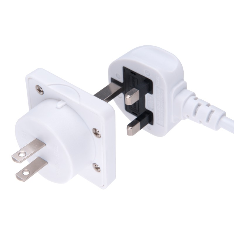 UK to US Adapter England American Socket 3 Pin to 13 Amp 2 Pin Plug Type G to Type A B | International Universal USA Travel Adaptor Adopter | for Mobile Phone Tablet Laptop | 1 x White
