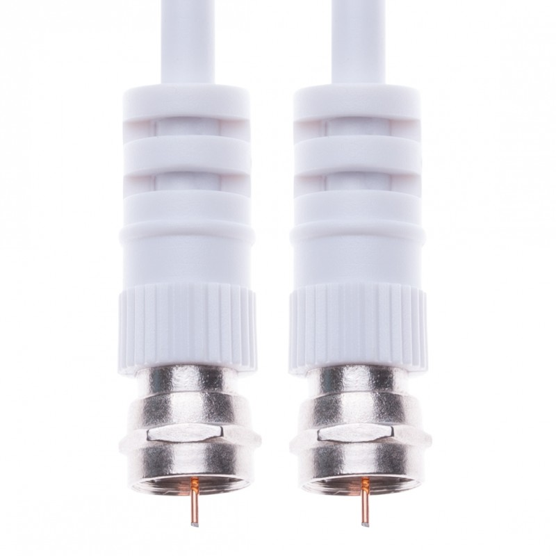 Coaxial Aerial Cable with Male F-F Pin Connectors for TV Satellite Sat Freesat Sky Virgin BT HDTV DVB DVD Radio – 10 m White