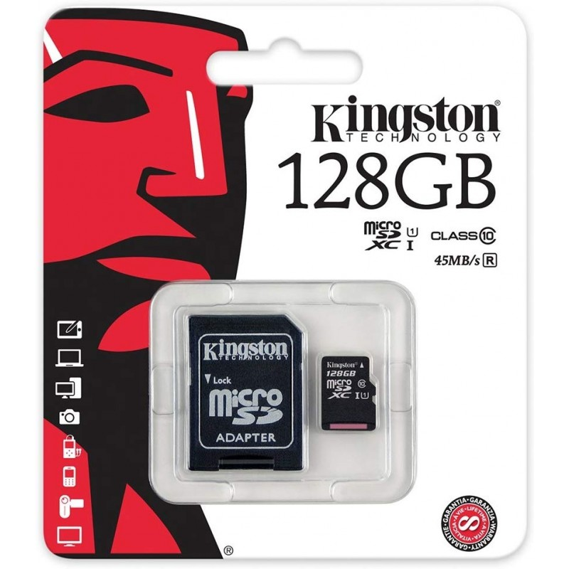 Kingston Flash memory card - 128 GB microSDXC - UHS Class 1 / Class10 (Stock Clearance)